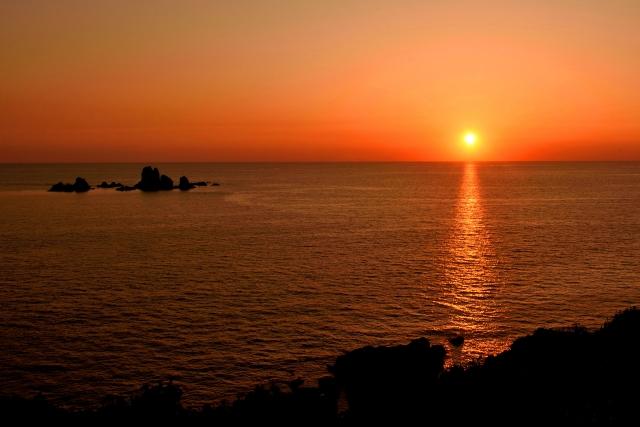 西平椿公園から見た夕陽