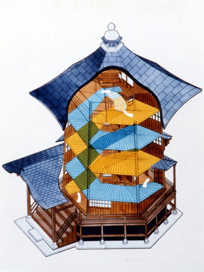 会津さざえ堂の透視図